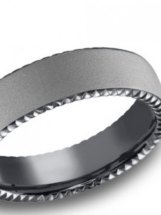 Tantalum 6.5mm comfort-fit satin-finished carved band with rivet coin edging.