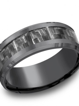Tantalum 8mm comfort-fit band with carbon fiber center inlay and high polished beveled round edges.